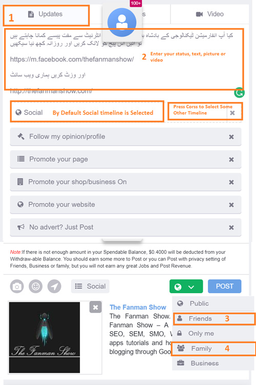 how to make a post in incomeon