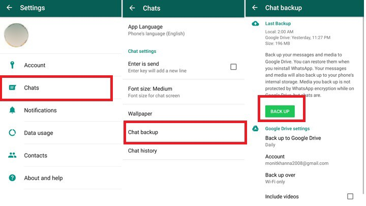 how to take backup of whatsapp messages