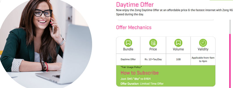 Zong Daytime Offer internet-package
