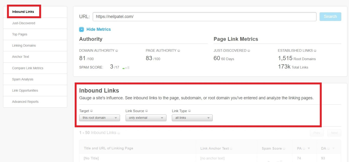 how to find the competitors inbound links