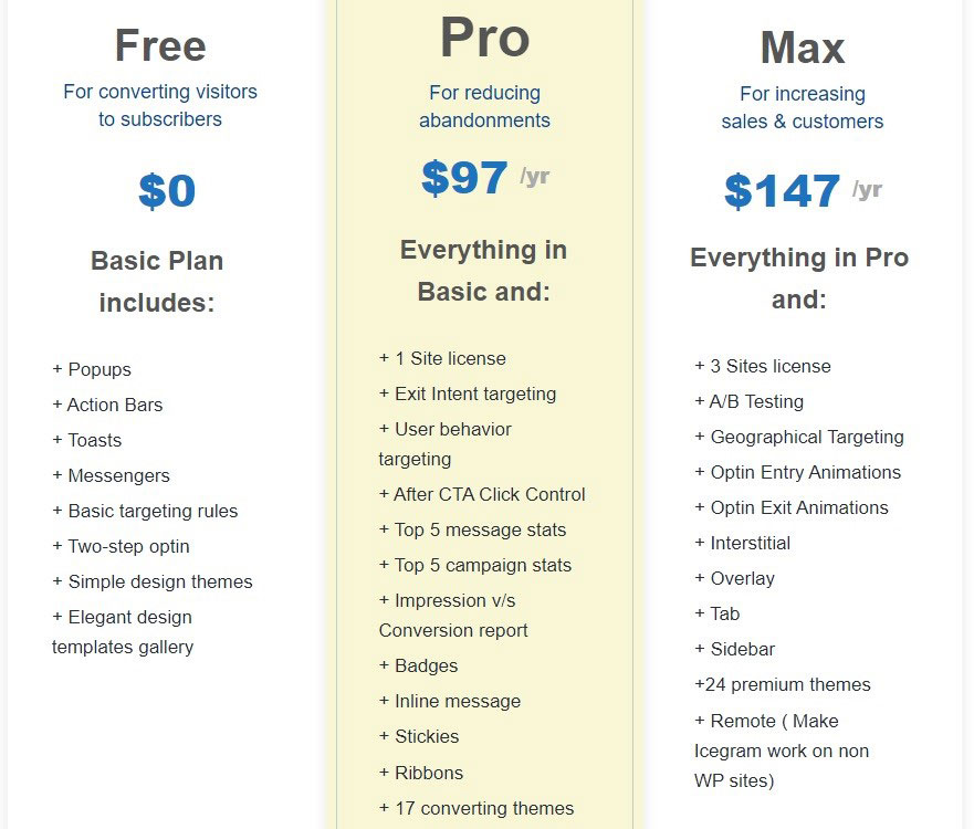 Icegram pricing plans