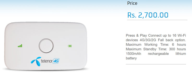 telenor 4G MiFi device price reviews features
